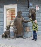 La sculpture dans la rue piétonnière, Iekaterinbourg, Fédération de Russie Image libre de droits