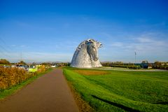 La sculpture en Kelpies par Andy Scott, Falkirk, Ecosse Images libres de droits