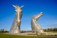 La sculpture en Kelpies par Andy Scott, Falkirk, Ecosse Photo stock