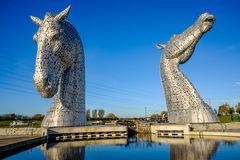 La sculpture en Kelpies par Andy Scott, Falkirk, Ecosse Image stock