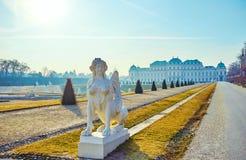 La sculpture en sphinx dans le jardin de belvédère, Vienne, Autriche images libres de droits