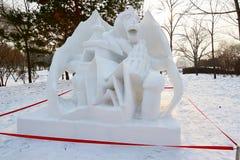 La sculpture sur neige - cimetières de brume Photographie stock libre de droits