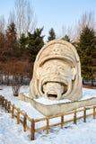 La sculpture sur neige - la famille Photos stock