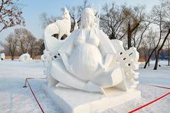 La sculpture sur neige - les gens Image libre de droits