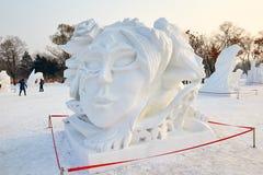 La sculpture sur neige - portraits principaux Photo libre de droits