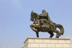 La scultura bronzea di khan di genghis, adobe rgb immagine stock