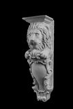 La scultura del leone del gesso, prende a pugni la colonna immagine stock