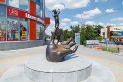 La scultura del ragazzo Immagini Stock Libere da Diritti