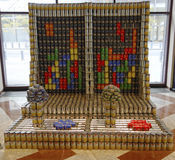 La scultura dell'alimento ha presentato alla ventunesima concorrenza annuale di NYC Canstruction a New York Fotografia Stock