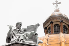 La scultura dell'apostolo Luke Immagini Stock Libere da Diritti