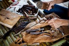 La scultura di legno Fotografia Stock