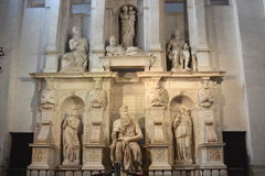 La scultura di Michelangelo di Mosè fotografia stock libera da diritti