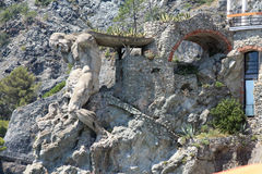 La scultura di Nettuno in Monterosso Cinque Terre Fotografia Stock