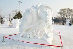 La scultura di neve - alba Fotografia Stock