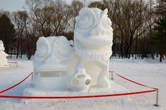 La scultura di neve - ballo di leone che celebra molla Immagini Stock Libere da Diritti