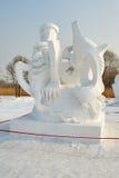 La scultura di neve - bevanda nera Immagine Stock Libera da Diritti