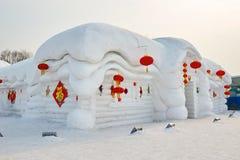 La scultura di neve - casa piega Fotografia Stock Libera da Diritti
