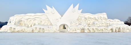 La scultura di neve - casa piega di nordest Immagine Stock