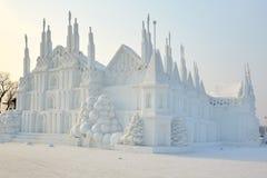 La scultura di neve - castello Fotografia Stock Libera da Diritti
