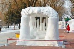 La scultura di neve - colonne del ghiaccio Fotografie Stock