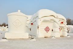 La scultura di neve - cortile Immagini Stock Libere da Diritti