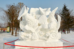 La scultura di neve - di nuovo alla natura Fotografie Stock