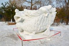 La scultura di neve - drago bianco Fotografia Stock