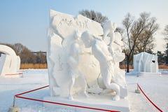 La scultura di neve - evoluzione del dentista Fotografia Stock