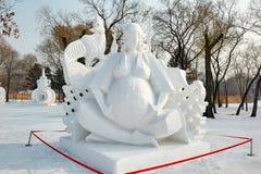 La scultura di neve - figlio del ` s di cielo Immagine Stock Libera da Diritti