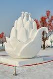 La scultura di neve - fiore della felce Immagine Stock