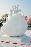 La scultura di neve - fiore di potere magico Fotografia Stock
