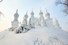 La scultura di neve - fortifichi sulla collina Immagini Stock