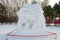La scultura di neve - il dio del fiume Fotografia Stock