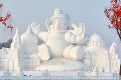 La scultura di neve - il fumetto Fotografia Stock Libera da Diritti