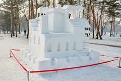 La scultura di neve - labirinto Fotografia Stock