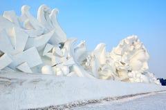 La scultura di neve - ragazza Immagine Stock Libera da Diritti