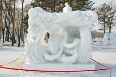 La scultura di neve - ritmo del mare Fotografie Stock Libere da Diritti