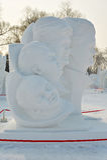 La scultura di neve - ritratti Fotografia Stock