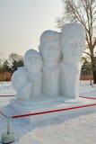 La scultura di neve - ritratto capo Fotografia Stock Libera da Diritti