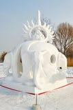 La scultura di neve - universo Immagine Stock Libera da Diritti