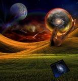 La scultura gigante della mano tiene la galassia illustrazione vettoriale