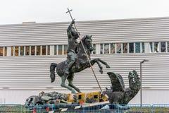 La scultura ha intitolato la buona malvagità di sconfitte presentata alle nazioni unite dall'Unione Sovietica nel 1990 a New York Fotografia Stock Libera da Diritti