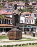 La scultura nel quadrato dentro nel ohrid del lago, Macedonia Immagini Stock Libere da Diritti