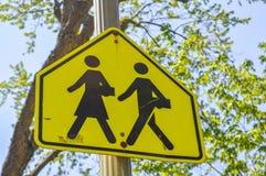 La scuola segnale di pericolo dentro Montreal Fotografia Stock Libera da Diritti