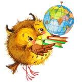 La scuola sveglia della scuola del fumetto scherza il fondo di istruzione Watercolorwatercolor animale sveglio Fotografia Stock