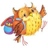 La scuola sveglia della scuola del fumetto scherza il fondo di istruzione Watercolorwatercolor animale sveglio Fotografia Stock Libera da Diritti