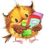La scuola sveglia della scuola del fumetto scherza il fondo di istruzione Watercolorwatercolor animale sveglio Fotografie Stock Libere da Diritti