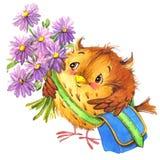 La scuola sveglia della scuola del fumetto scherza il fondo di istruzione Watercolorwatercolor animale sveglio Immagine Stock Libera da Diritti