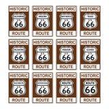 La señal de tráfico de Route 66 los E.E.U.U. históricos América aisló el vector EPS Foto de archivo