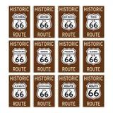 La señal de tráfico de Route 66 los E.E.U.U. históricos América aisló el vector EPS Fotografía de archivo libre de regalías
